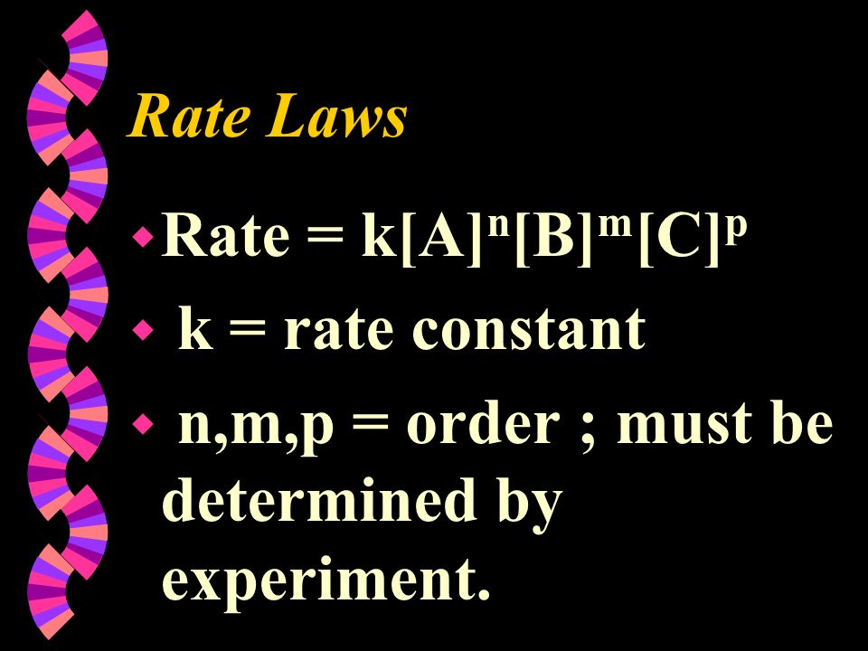 Rate Laws Rate = k[A]n[B]m[C]p k = rate constant n,m,p = order ; must be determined by experiment.